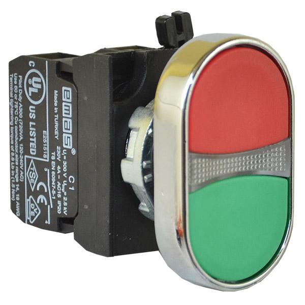 Przycisk podwójny CM, 1NO+1NC, czerwono-zielony